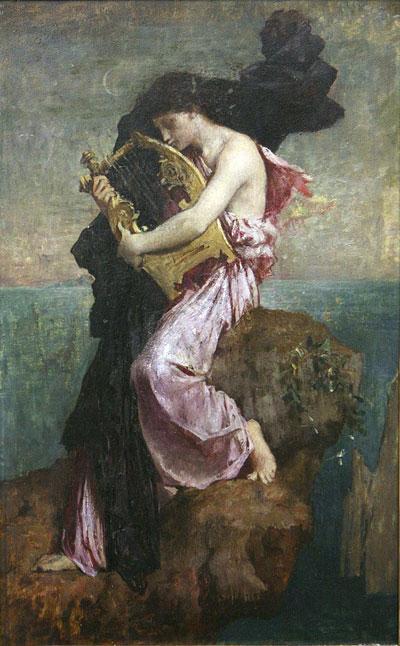 Jules-Élie Delaunay, 'Sappho Kissing Her Lyre' - The Culturium