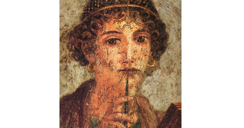 'Detail of the portrait of a young woman (so-called Sappho) with writing pen and wax tablets' - The Culturium