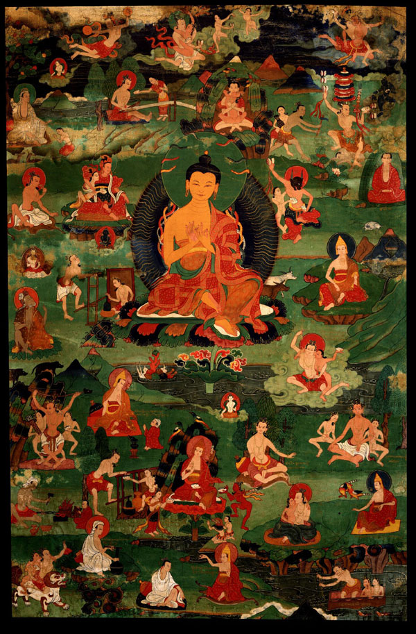 Gelug Lineage, Nagarjuna with Thirty of the Eighty-four Mahasiddhas - The Culturium