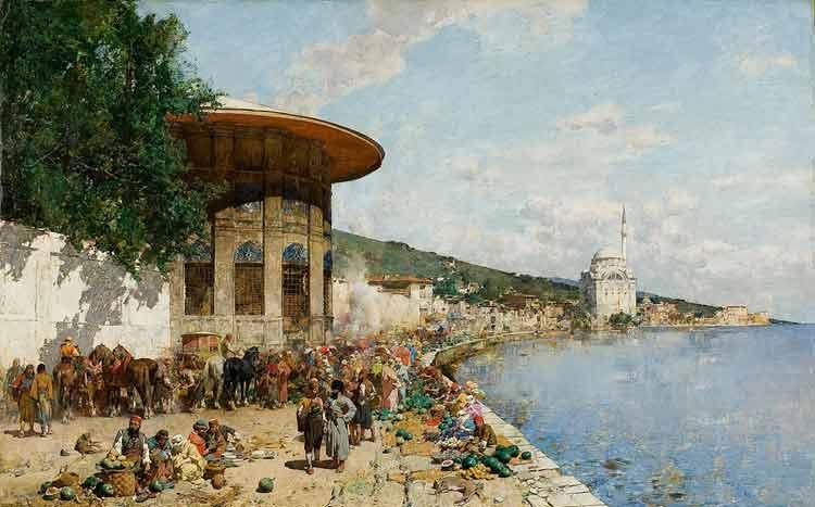 Alberto Pasini, Market Day in Constantinople - The Culturium