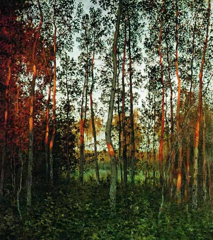 Isaac Levitan, The Last Rays of the Sun. Aspen Forest - The Culturium