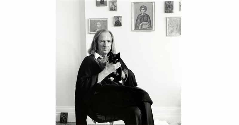 George Newson, John Tavener With Cat, April 1992 British Composer - The Culturium