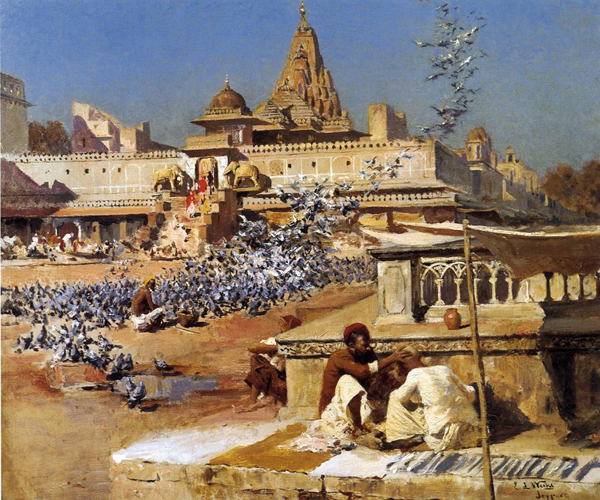Edwin Lord Weeks, Feeding the Sacred Pigeons, Jaipur - The Culturium