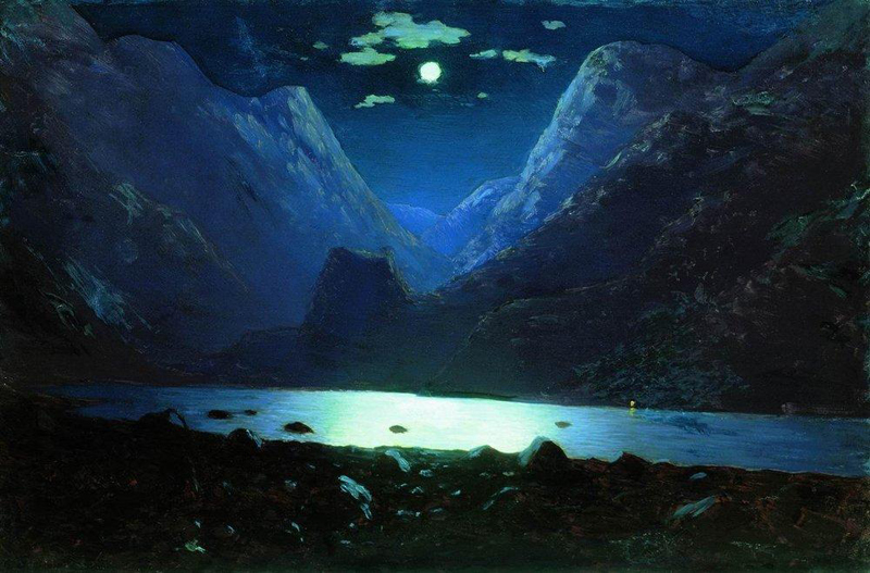 Arkhip Kuindzhi, Daryal Pass Moonlight Night - The Culturium