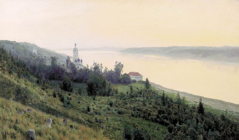 Isaac Levitan, Evening. Golden Plyos - The Culturium