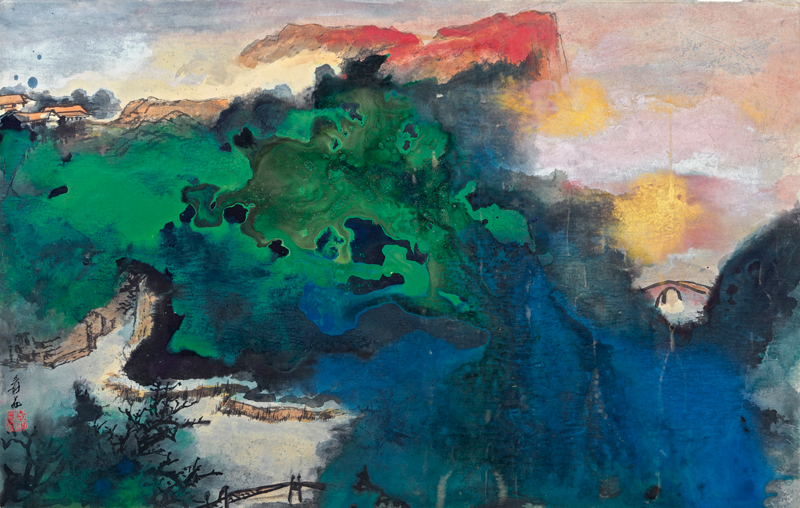 Zhang Daqian, Spring Dawns Upon Colourful Hills - Landscape - The Culturium