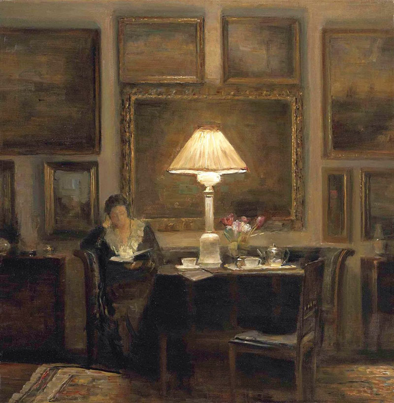 Carl Vilhelm Holsøe, A Lady Reading by Lamplight - The Culturium