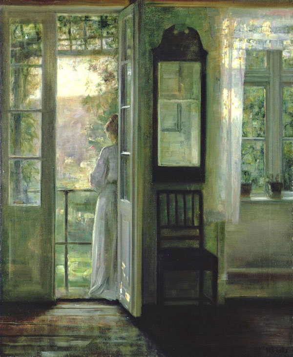 Carl Vilhelm Holsøe, Girl Standing on a Balcony - The Culturium