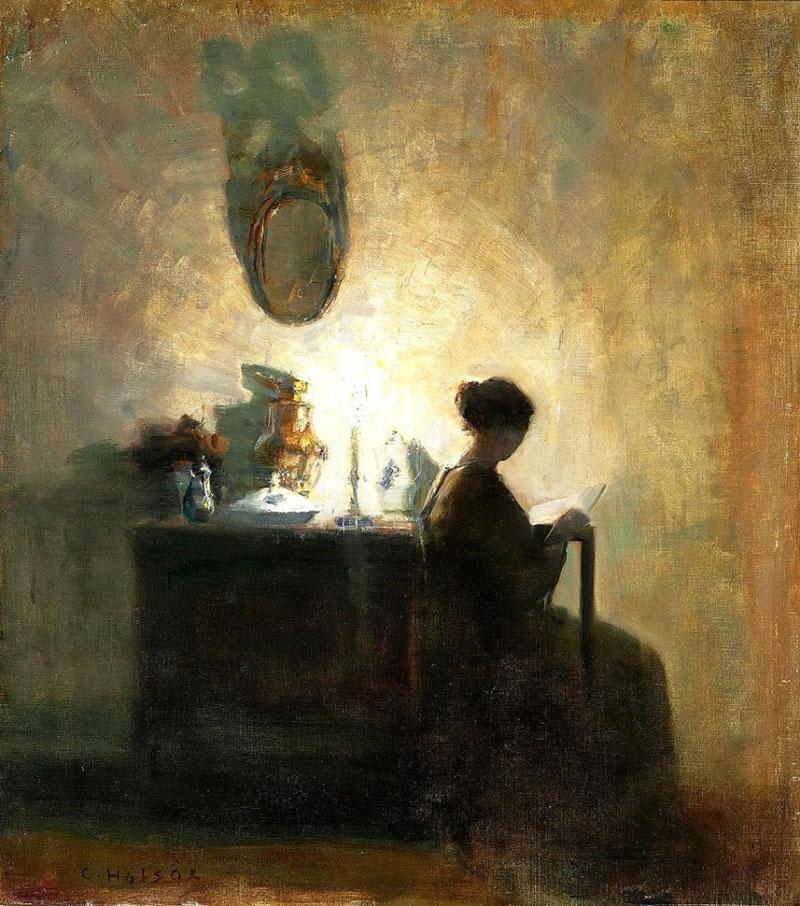 Carl Vilhelm Holsøe, Interior With the Artist's Wife - The Culturium