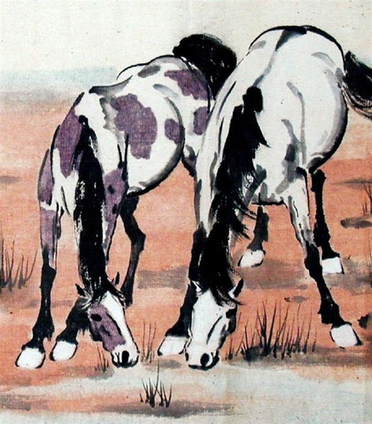 Xu Beihong, Two Horses - The Culturium