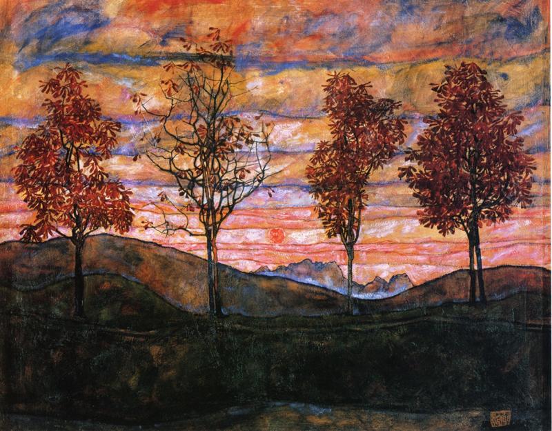 Egon Schiele, Four Trees - The Culturium